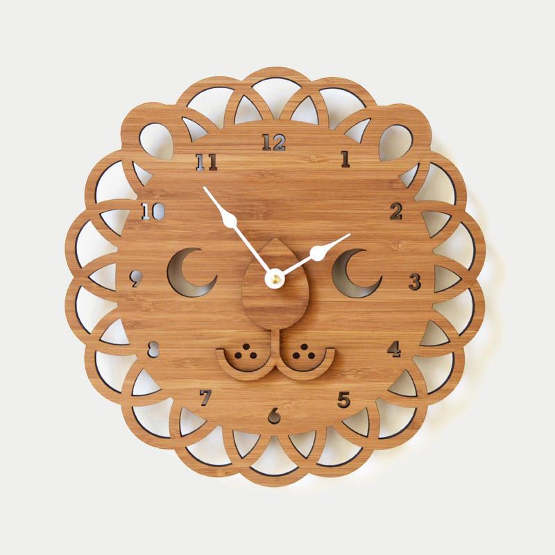 디코이랩 사자얼굴 우드 벽시계(Decoylab  Lion Face Clock Large)