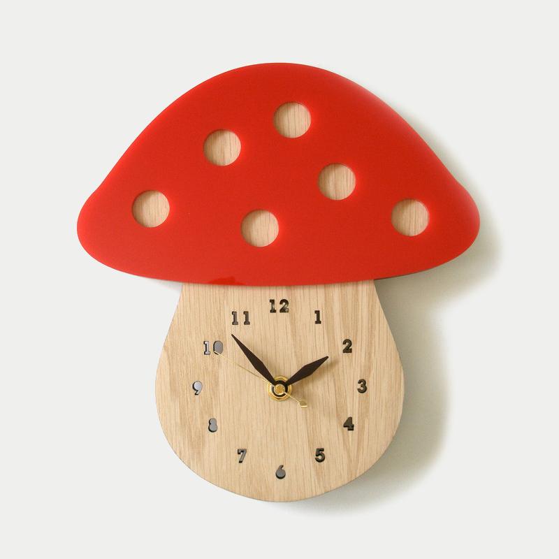 디코이랩 버섯집 우드 벽시계(Decoylab  Mushroom Wall Clock)